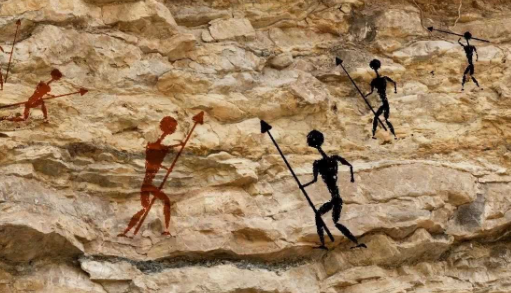 caveman-fighting-drawing-cave-painting-conflict-evolution-culture-primitive